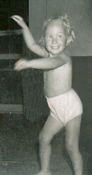 Deborah dancing as toddler